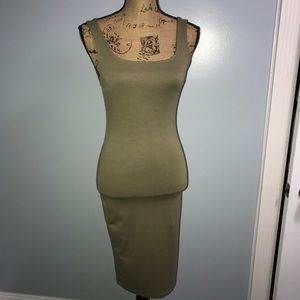 Charlotte Russe medium olive green bodycon dress
